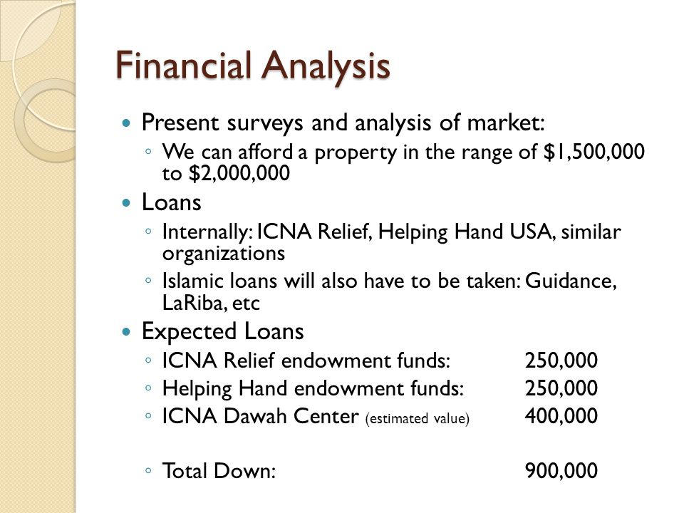 Financial Analysis Present surveys and analysis of market: ◦ We can afford a property in the range of $1,500,000 to $2,000,000 Loans ◦ Internally: ICNA Relief, Helping Hand USA, similar organizations ◦ Islamic loans will also have to be taken: Guidance, LaRiba, etc Expected Loans ◦ ICNA Relief endowment funds: 250,000 ◦ Helping Hand endowment funds: 250,000 ◦ ICNA Dawah Center (estimated value) 400,000 ◦ Total Down:900,000