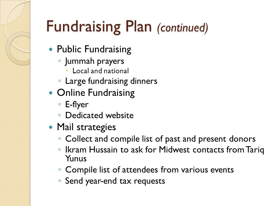 Fundraising Plan (continued) Public Fundraising ◦ Jummah prayers  Local and national ◦ Large fundraising dinners Online Fundraising ◦ E-flyer ◦ Dedicated website Mail strategies ◦ Collect and compile list of past and present donors ◦ Ikram Hussain to ask for Midwest contacts from Tariq Yunus ◦ Compile list of attendees from various events ◦ Send year-end tax requests