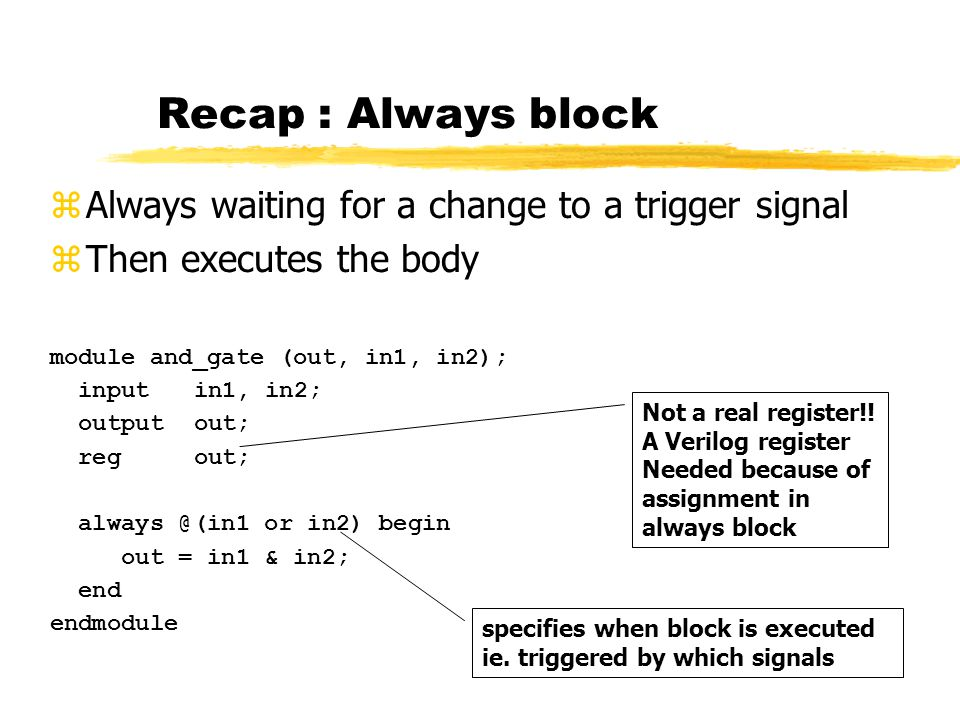 Recap : Always block module and_gate (out, in1, in2); inputin1, in2; outputout; regout; always @(in1 or in2) begin out = in1 & in2; end endmodule zAlways waiting for a change to a trigger signal zThen executes the body Not a real register!.