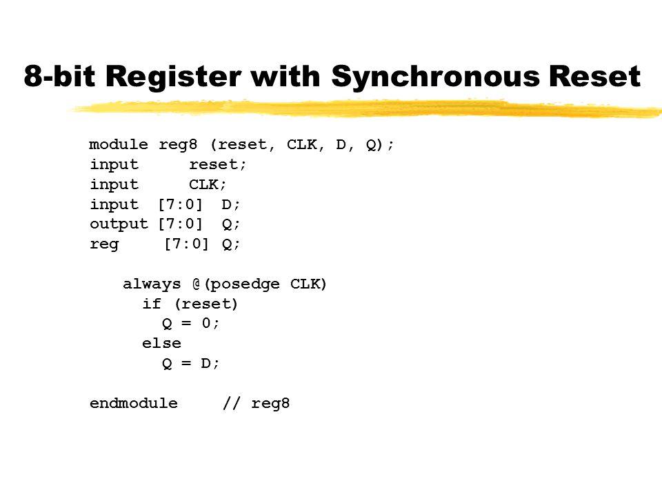 8-bit Register with Synchronous Reset module reg8 (reset, CLK, D, Q); inputreset; inputCLK; input[7:0]D; output[7:0]Q; reg [7:0]Q; always @(posedge CLK) if (reset) Q = 0; else Q = D; endmodule// reg8