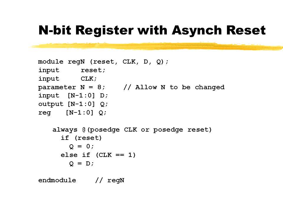 N-bit Register with Asynch Reset module regN (reset, CLK, D, Q); inputreset; inputCLK; parameter N = 8;// Allow N to be changed input[N-1:0] D; output[N-1:0] Q; reg [N-1:0] Q; always @(posedge CLK or posedge reset) if (reset) Q = 0; else if (CLK == 1) Q = D; endmodule// regN
