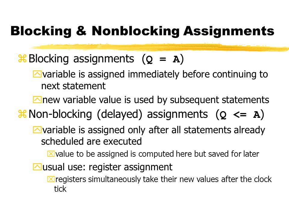 Example always @(posedge CLK) begin temp = B; B = A; A = temp; end Swap : C style..