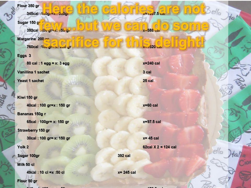 Flour 350 gr 345cal :100gr=x : 350grx=1207.5 cal Sugar 150 gr 392cal :100 gr=x: 150 grx=588 cal Margarine 200 gr 760cal :100 gr= x: 200 grx=1520 cal Eggs 3 80 cal : 1 egg = x: 3 eggx=240 cal Vanillina 1 sachet 3 cal Yeast 1 sachet 25 cal Kiwi 150 gr 40cal : 100 gr=x : 150 grx=60 cal Bananas 150g r 65cal : 100gr= x: 150 grx=97.5 cal Strawberry 150 gr 30cal : 100 gr= x: 150 grx= 45 cal Yolk 262cal X 2 = 124 cal Sugar 100gr392 cal Milk 50 cl 49cal : 10 cl =x :50 clx= 245 cal Flour 50 gr 345 cal: 100 gr= x: 50 grx=172.5 cal Vanillina 1 sachet3 cal Lemon's peel 60 gr12 cal Total 1207.5 + 588 + 1520 + 240 + 3+ 25 + 60 + 97.5 + 45 + 124 + 392 + 245 + 172.5 + 3 + 12 = 4734.5 cal / 8 = 592 cal
