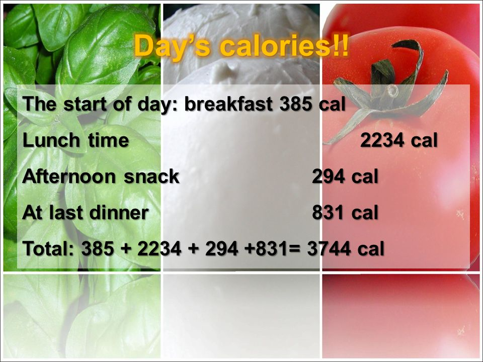 The start of day: breakfast 385 cal Lunch time 2234 cal Afternoon snack294 cal At last dinner831 cal Total: 385 + 2234 + 294 +831= 3744 cal