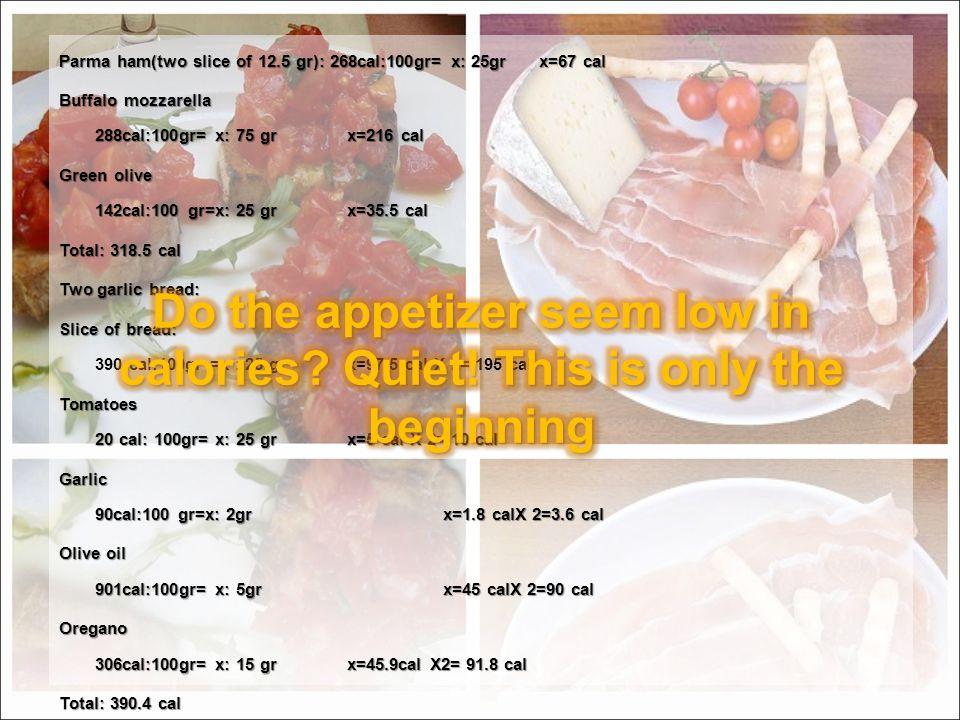 Parma ham(two slice of 12.5 gr): 268cal:100gr= x: 25grx=67 cal Buffalo mozzarella 288cal:100gr= x: 75 grx=216 cal Green olive 142cal:100 gr=x: 25 grx=35.5 cal Total: 318.5 cal Two garlic bread: Slice of bread: Slice of bread: 390 cal:100gr =x : 25 gr x=97.5 cal X 2= 195 cal Tomatoes 20 cal: 100gr= x: 25 grx=5 cal X 2= 10 cal Garlic 90cal:100 gr=x: 2grx=1.8 calX 2=3.6 cal Olive oil 901cal:100gr= x: 5grx=45 calX 2=90 cal Oregano 306cal:100gr= x: 15 grx=45.9cal X2= 91.8 cal Total: 390.4 cal