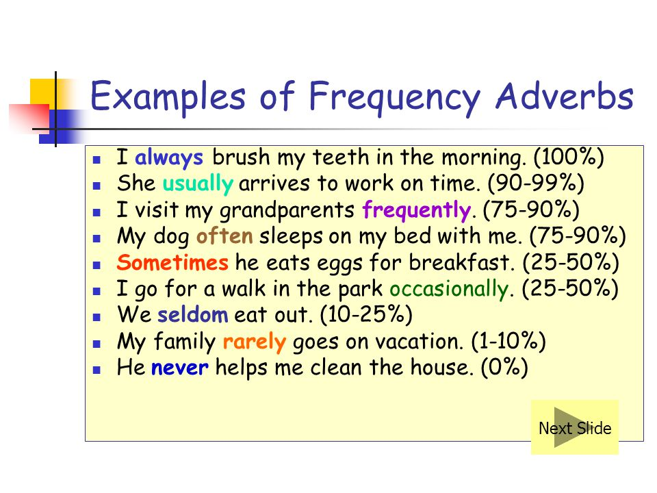 Examples of Frequency Adverbs I always brush my teeth in the morning.