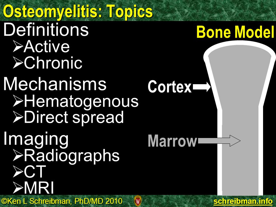 ©Ken L Schreibman, PhD/MD 2010 schreibman.info Osteomyelitis: Definitions comes from Greek:   osteon= bone   myelos= marrow   itis = inflammation Inflammation of bone marrow Infection of bone marrow MRI Marrow Marrow High Sensitivity  Low Specificity Marrow inflammation from infection looks like inflammation from any other cause Osteomyelitis