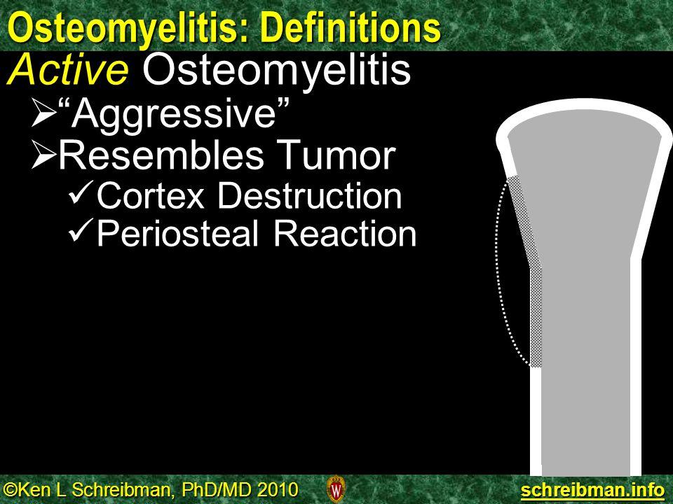 "©Ken L Schreibman, PhD/MD 2010 schreibman.info Osteomyelitis: Definitions Active Osteomyelitis   ""Aggressive""   Resembles Tumor Cortex Destruction"
