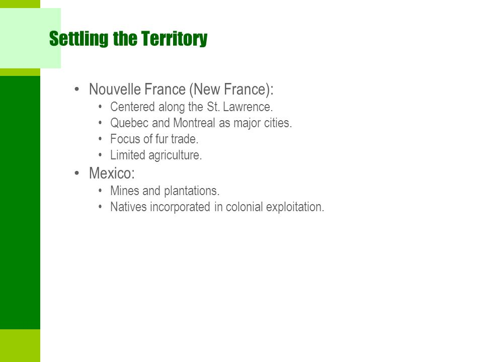 Settling the Territory Nouvelle France (New France): Centered along the St.