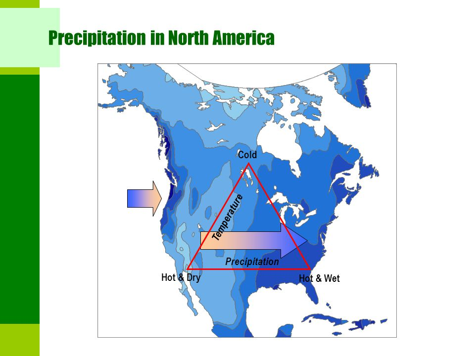 Precipitation in North America Hot & Dry Hot & Wet Cold Precipitation Temperature