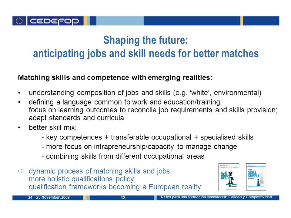 13 24 - 25 November, 2009 Retos para una formación innovadora: Calidad y Competitividad Shaping the future: anticipating jobs and skill needs for bett