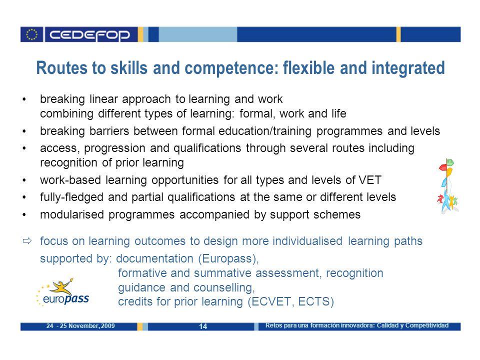 14 24 - 25 November, 2009 Retos para una formación innovadora: Calidad y Competitividad Routes to skills and competence: flexible and integrated break