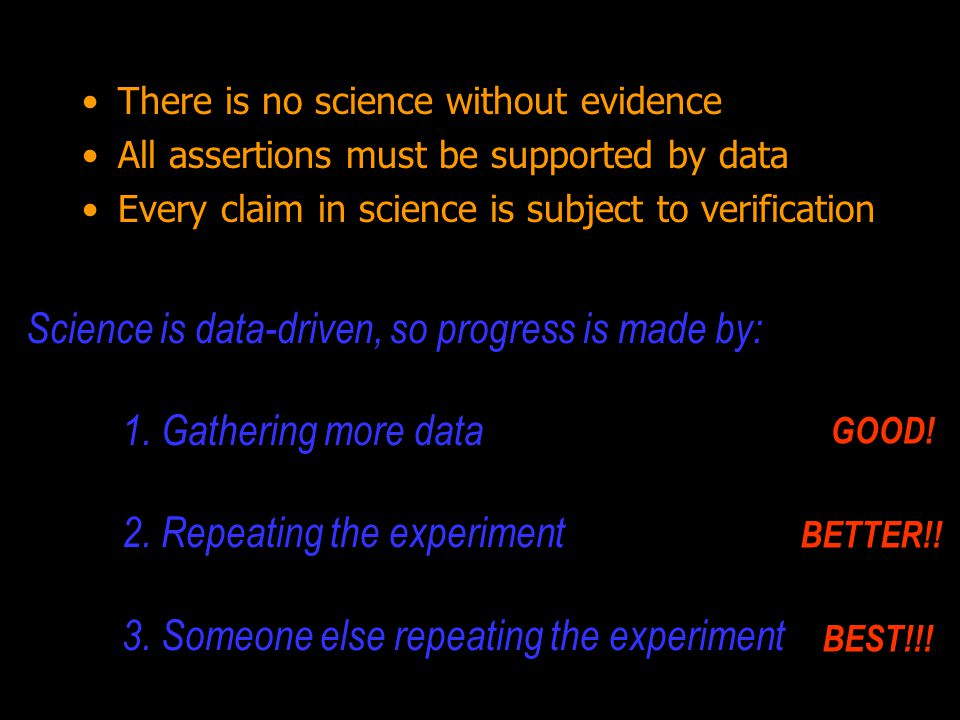 Evidence is: based on data reproducible quantitative not subjective never perfect Science is Evidence