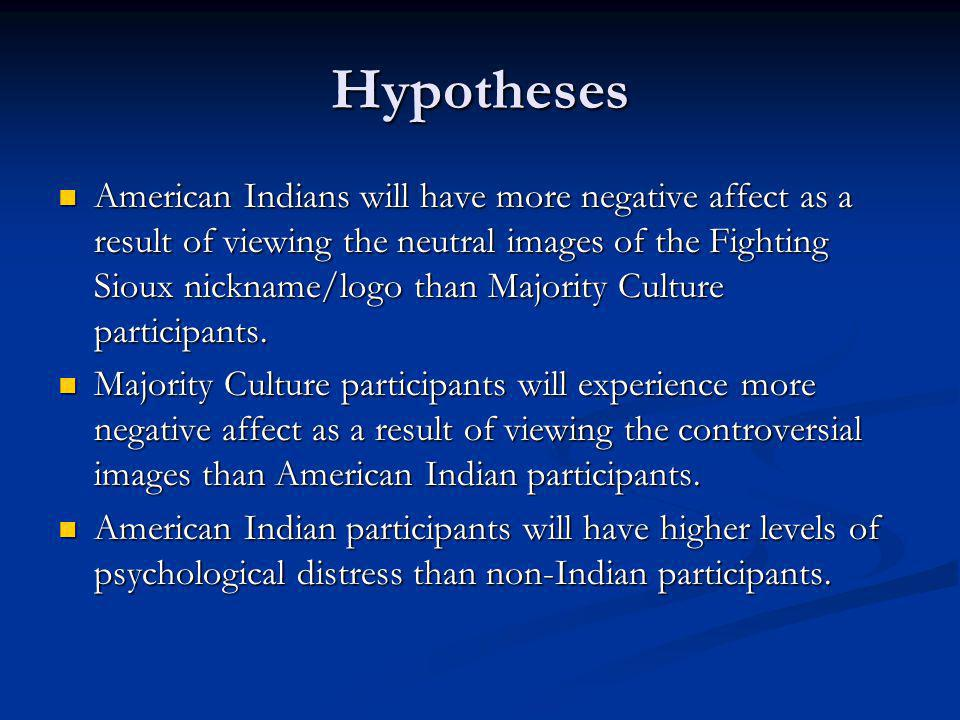 Hypotheses American Indians will have more negative affect as a result of viewing the neutral images of the Fighting Sioux nickname/logo than Majority Culture participants.