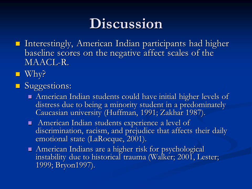 Discussion Interestingly, American Indian participants had higher baseline scores on the negative affect scales of the MAACL-R.