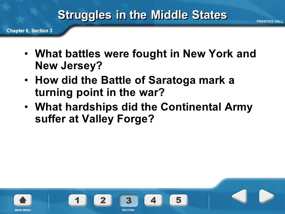 Chapter 6, Section 3 Struggles in the Middle States What battles were fought in New York and New Jersey? How did the Battle of Saratoga mark a turning