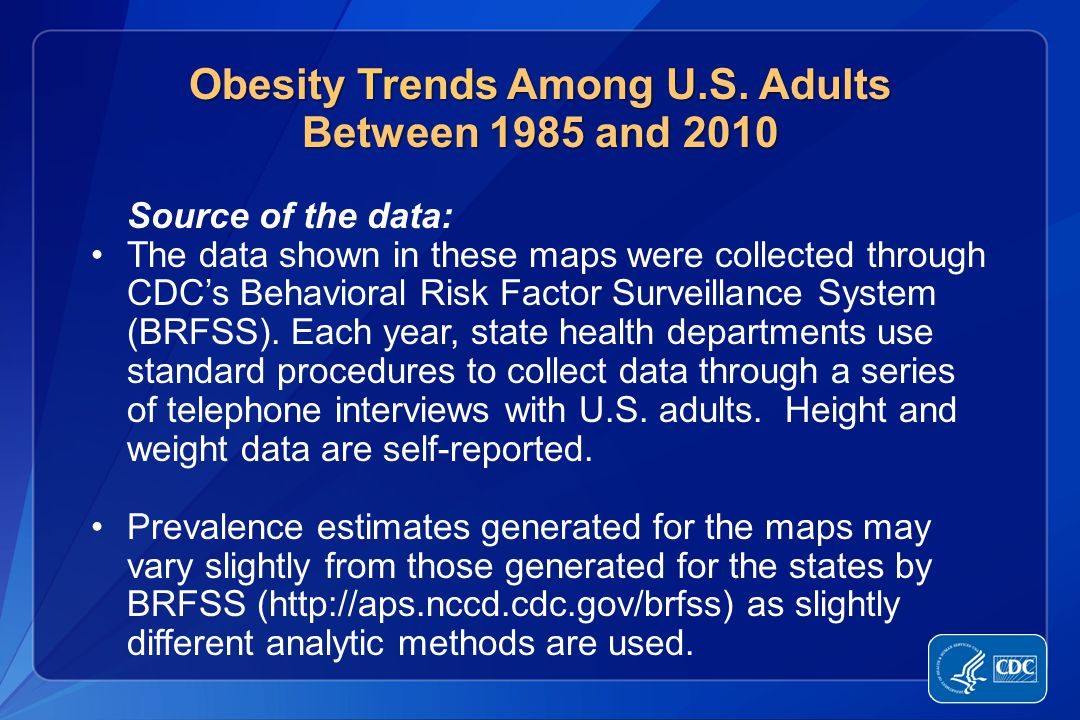 In 1990, among states participating in the Behavioral Risk Factor Surveillance System, 10 states had a prevalence of obesity less than 10% and no state had prevalence equal to or greater than 15%.