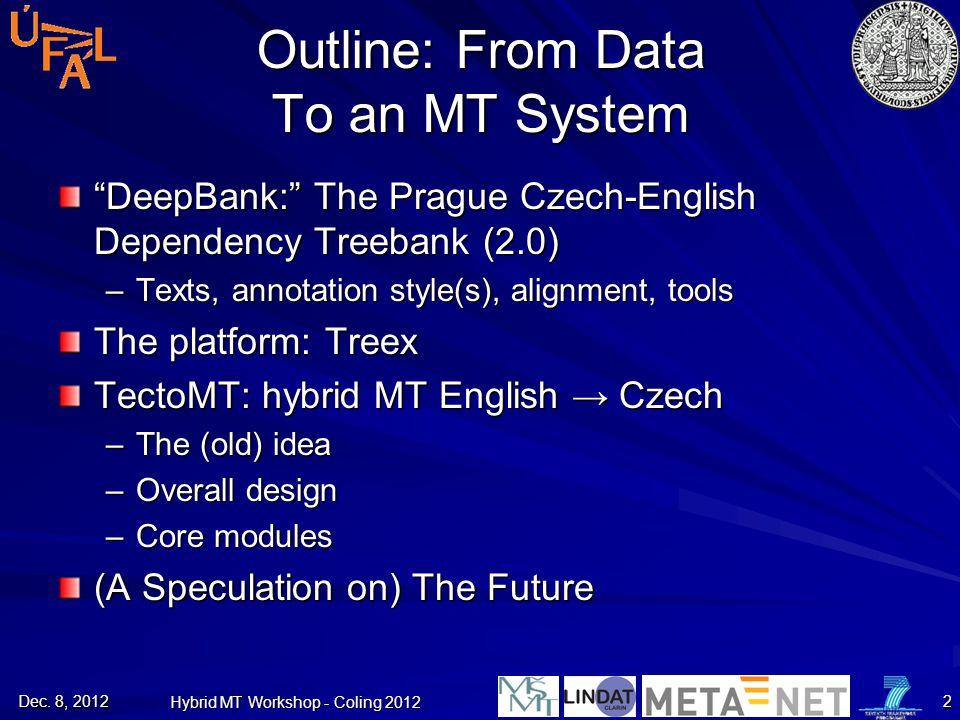 """DeepBank:"" The Prague Czech-English Dependency Treebank (2.0) –Texts, annotation style(s), alignment, tools The platform: Treex TectoMT: hybrid MT En"
