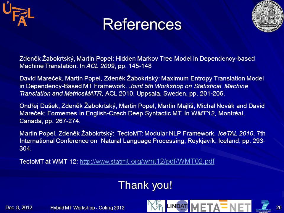 Dec. 8, 2012 Hybrid MT Workshop - Coling 2012 26 References Thank you! Zdeněk Žabokrtský, Martin Popel: Hidden Markov Tree Model in Dependency-based M
