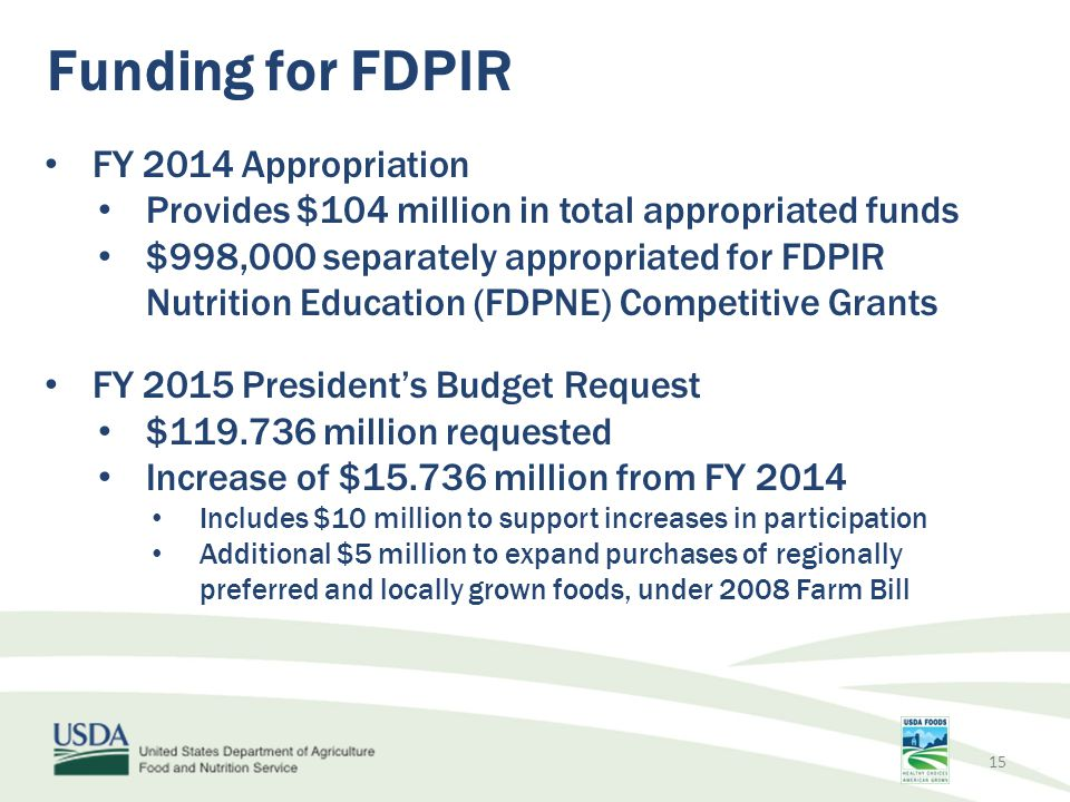 Funding for FDPIR FY 2014 Appropriation Provides $104 million in total appropriated funds $998,000 separately appropriated for FDPIR Nutrition Educati