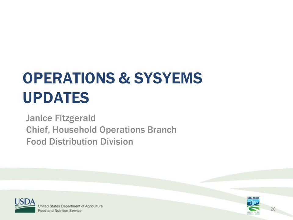 OPERATIONS & SYSYEMS UPDATES Janice Fitzgerald Chief, Household Operations Branch Food Distribution Division 20
