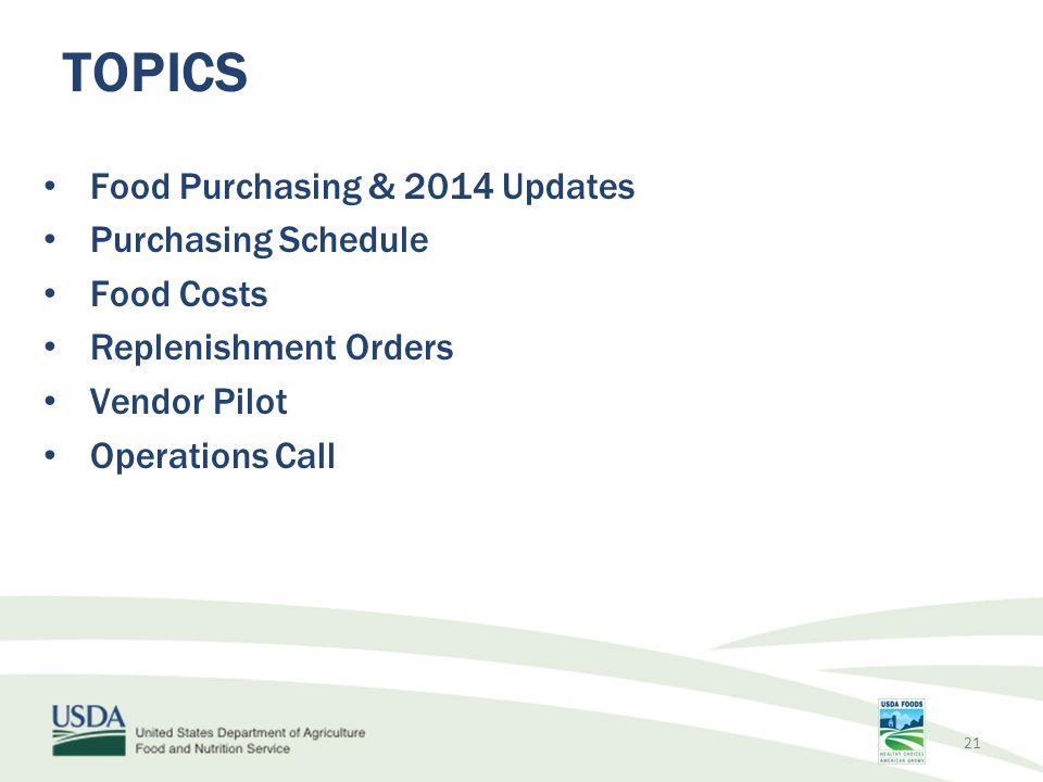 Food Purchasing & 2014 Updates Purchasing Schedule Food Costs Replenishment Orders Vendor Pilot Operations Call TOPICS 21