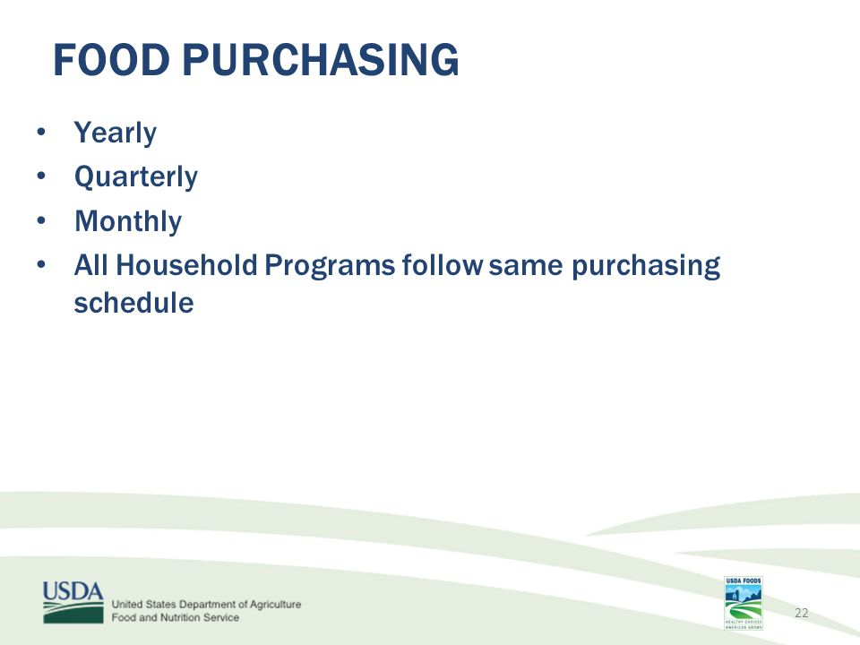 Yearly Quarterly Monthly All Household Programs follow same purchasing schedule FOOD PURCHASING 22
