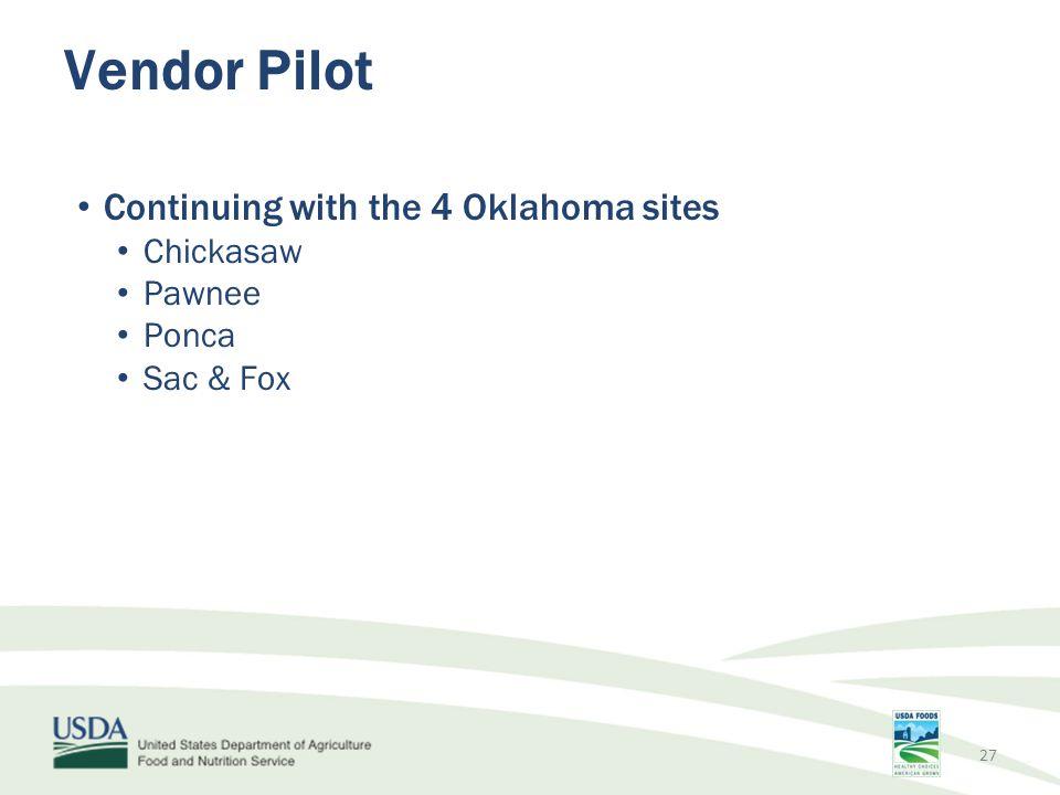 Continuing with the 4 Oklahoma sites Chickasaw Pawnee Ponca Sac & Fox Vendor Pilot 27