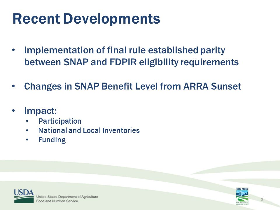 Participation in FDPIR Currently serving an average of 83,000 individuals per month nationally. 4