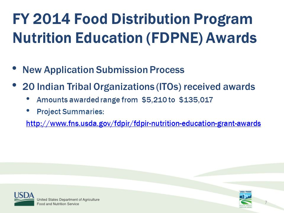 FY 2014 Food Distribution Program Nutrition Education (FDPNE) Awards Examples of Activities Funded Food demonstrations for participants Nutrition, cooking, and food preservation classes for participants Community gardens Cookbooks and calendars 8