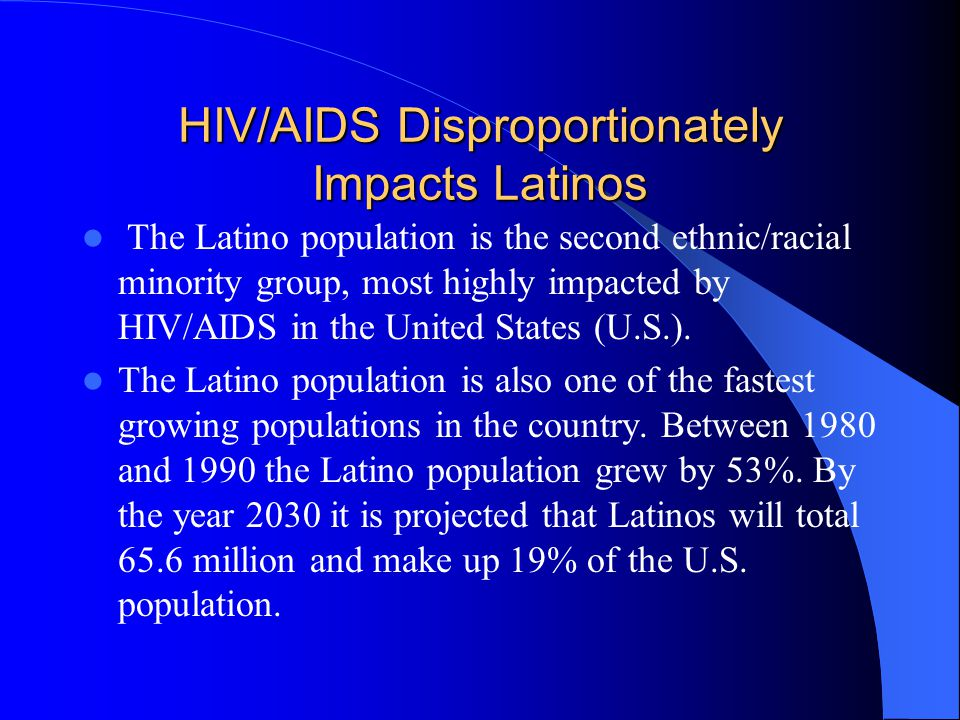 Cumulative AIDS in New York State, 1999 People of color are disproportionately impacted by HIV/AIDS in NYS POC make up 33% of the total New York State population and over 72% of the cumulative AIDS cases reported through December 31, 1999.