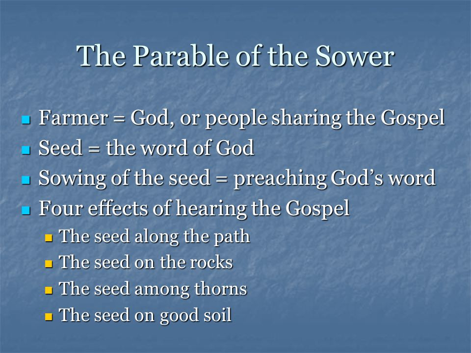 The Parable of the Sower Farmer = God, or people sharing the Gospel Farmer = God, or people sharing the Gospel Seed = the word of God Seed = the word