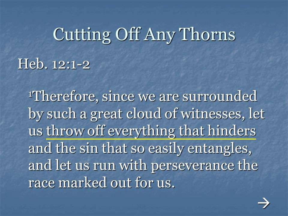 Cutting Off Any Thorns Heb. 12:1-2 1 Therefore, since we are surrounded by such a great cloud of witnesses, let us throw off everything that hinders a
