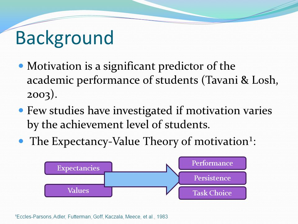 Background Motivation is a significant predictor of the academic performance of students (Tavani & Losh, 2003).