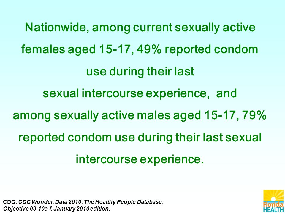 Nationwide, among current sexually active females aged 15-17, 49% reported condom use during their last sexual intercourse experience, and among sexually active males aged 15-17, 79% reported condom use during their last sexual intercourse experience.