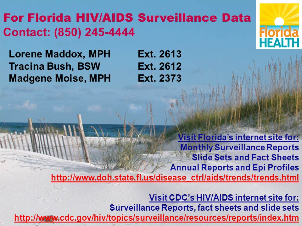 For Florida HIV/AIDS Surveillance Data Contact: (850) 245-4444 Lorene Maddox, MPH Ext.
