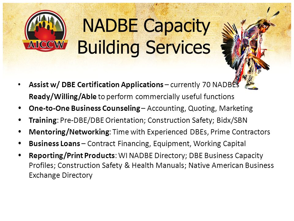 Summary & Questions AMERICAN INDIAN CHAMBER OF COMMERCE OF WISCONSIN FIRST AMERICAN CAPITAL CORPORATION AMERICAN INDIAN CONSTRUCTION & TRADES ASSOCIATION Contact AICCW/FACC at 414.604.2044 / gary.aiccw@gmail.com and Visit us at www.aiccw.orggary.aiccw@gmail.comwww.aiccw.org