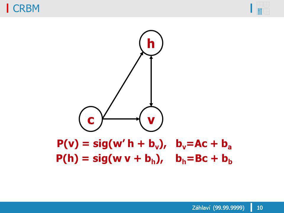 CRBM Záhlaví (99.99.9999)10 h vc P(v) = sig(w' h + b v ), b v =Ac + b a P(h) = sig(w v + b h ), b h =Bc + b b