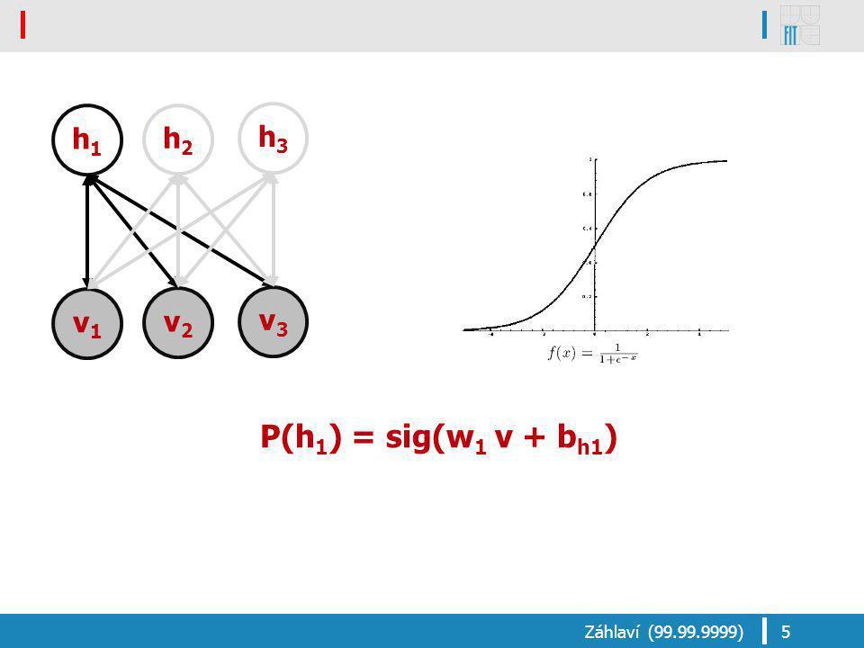 P(h 1 ) = sig(w 1 v + b h1 ) Záhlaví (99.99.9999)5 v1v1 v2v2 v3v3 h1h1 h2h2 h3h3