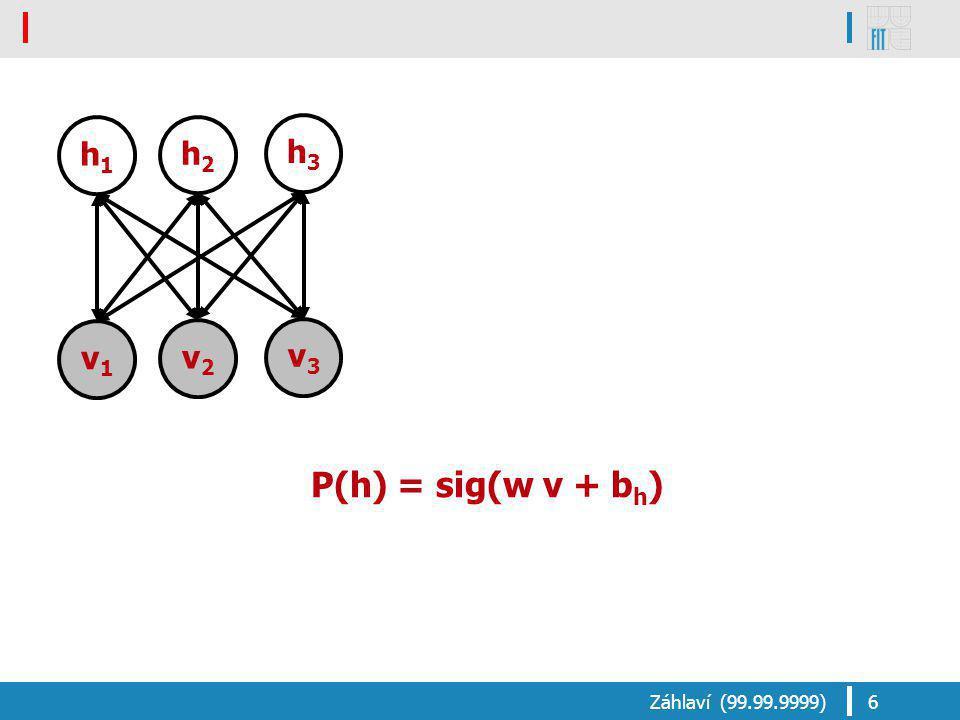 P(h) = sig(w v + b h ) Záhlaví (99.99.9999)6 v1v1 v2v2 v3v3 h1h1 h2h2 h3h3