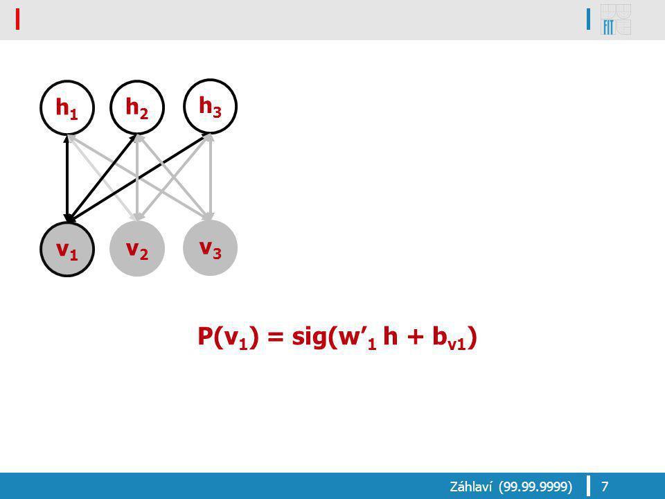 P(v 1 ) = sig(w' 1 h + b v1 ) Záhlaví (99.99.9999)7 v1v1 v2v2 v3v3 h1h1 h2h2 h3h3
