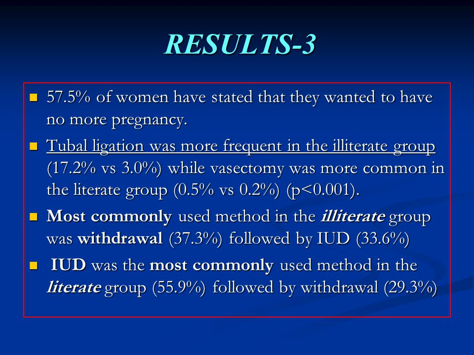 RESULTS-3 RESULTS-3 57.5% of women have stated that they wanted to have no more pregnancy.