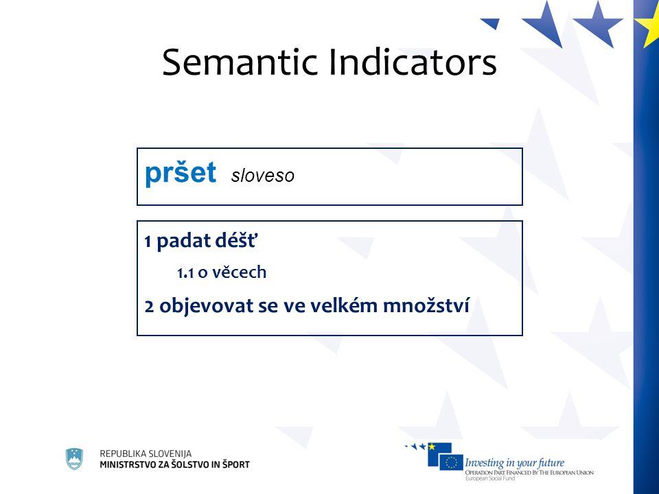 Semantic Indicators 1 padat déšť 1.1 o věcech 2 objevovat se ve velkém množství pršet sloveso