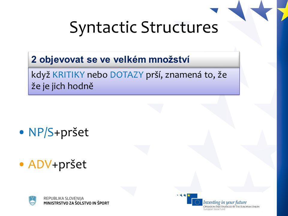 Syntactic Structures NP/S+pršet ADV+pršet když KRITIKY nebo DOTAZY prší, znamená to, že že je jich hodně 2 objevovat se ve velkém množství