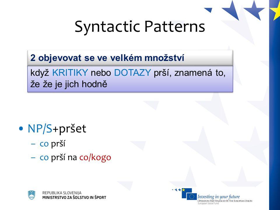 Syntactic Patterns NP/S+pršet –co prší –co prší na co/kogo když KRITIKY nebo DOTAZY prší, znamená to, že že je jich hodně 2 objevovat se ve velkém mno