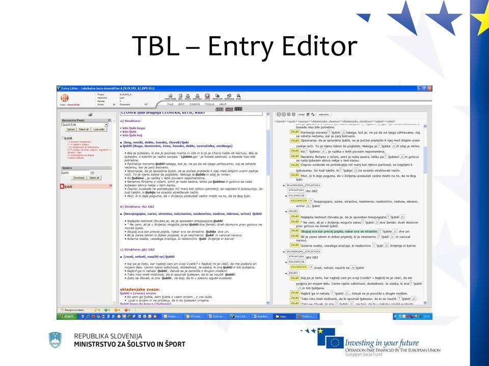 TBL – Entry Editor