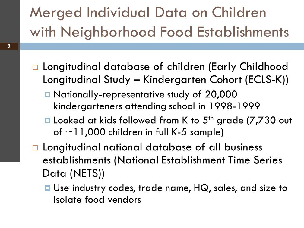 Merged Individual Data on Children with Neighborhood Food Establishments 9  Longitudinal database of children (Early Childhood Longitudinal Study – K