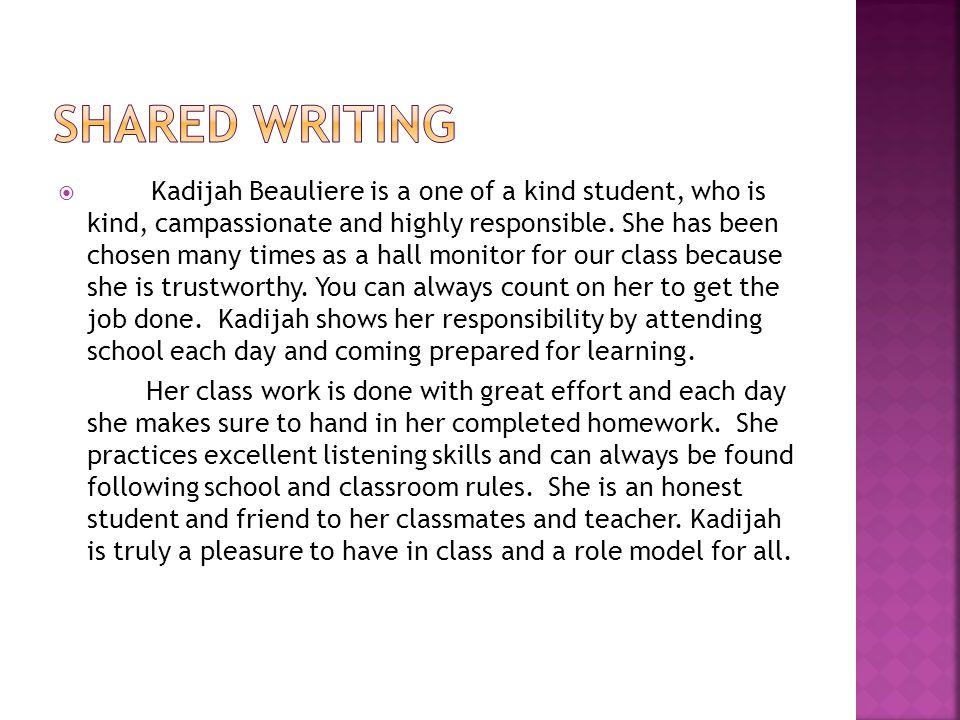 Circle Map: How do we know Kadijah is a Responsible student.
