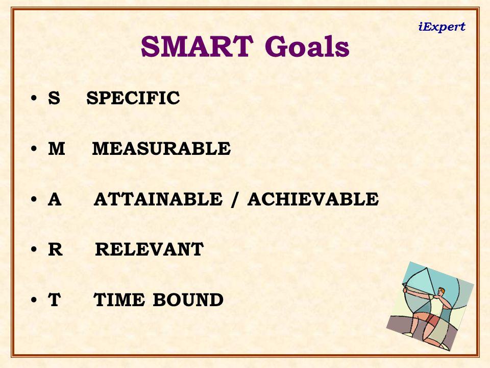 iExpert SMART Goals S SPECIFIC M MEASURABLE A ATTAINABLE / ACHIEVABLE R RELEVANT T TIME BOUND
