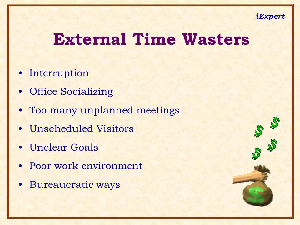 iExpert External Time Wasters Interruption Office Socializing Too many unplanned meetings Unscheduled Visitors Unclear Goals Poor work environment Bur